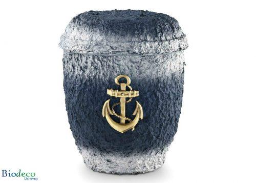 De biologisch afbreekbare zee-urn Messing Anker geproduceerd van cellulose, voor een asbijzetting in het water