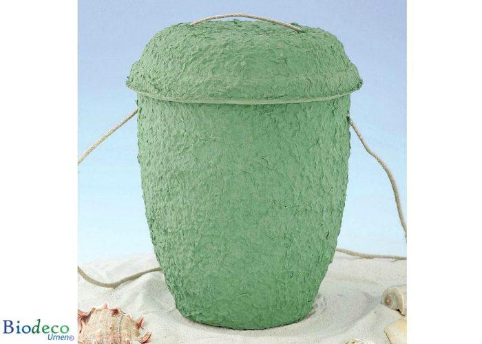 Biologisch afbreekbare zee-urn Cellulose Zeegroen in het zand, met touw voor een waardige asbijzetting
