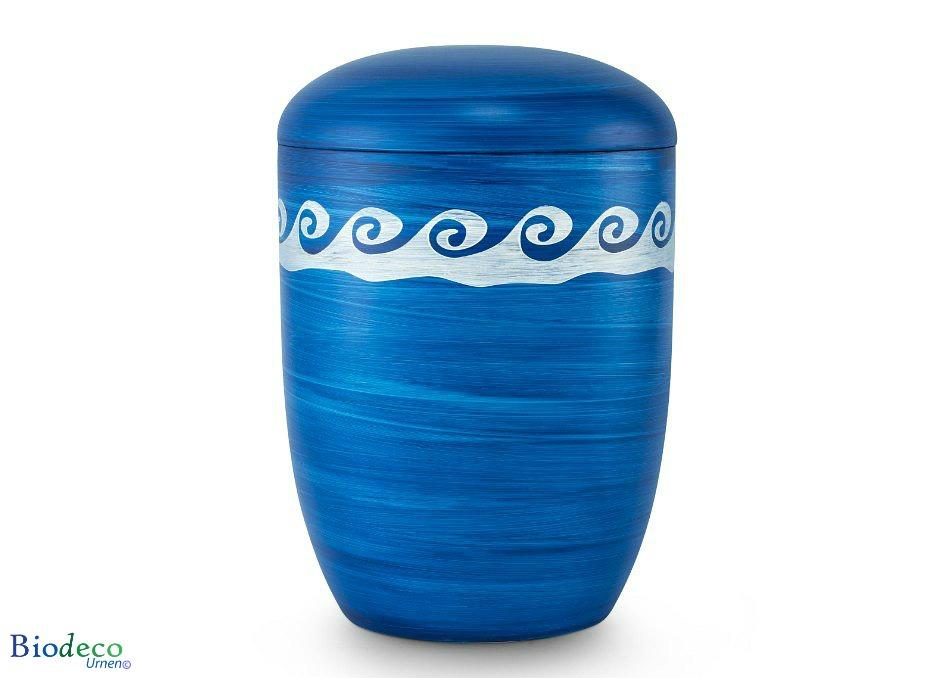 Mooie biologisch afbreekbare zee-urn Oceaan met Golven, blauwe urn gedecoreerd met onstuimige golven