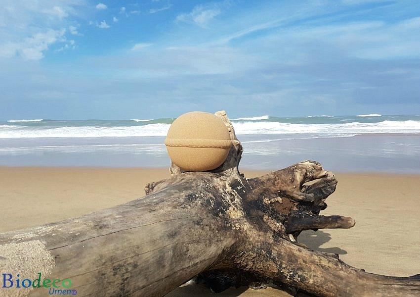 Zee-urn Sand Round opgesteld op een aangespoelde boom op het strand aan de Atlantische oceaan voor de kust van Bordeaux