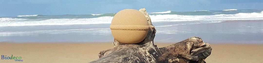 Biologisch afbreekbare zee-urn op aangespoeld drijfhoutop het strand, voor een asbijzetting in de Atlantische oceaan
