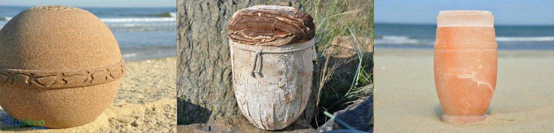 Biologisch afbreekbare zee- en aarde-urnen van Biodeco, bestemd voor een asbijzetting in de aarde of op zee
