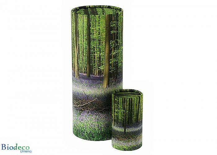 Strooikoker Bluebell Forest, in mini- en standaardformaat. Voor het verstrooien van crematie-as