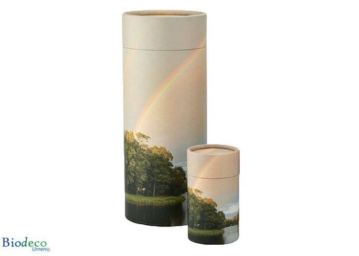 Strooikoker Regenboog, in mini en standaard formaat. Voor het verstrooien van crematie-as