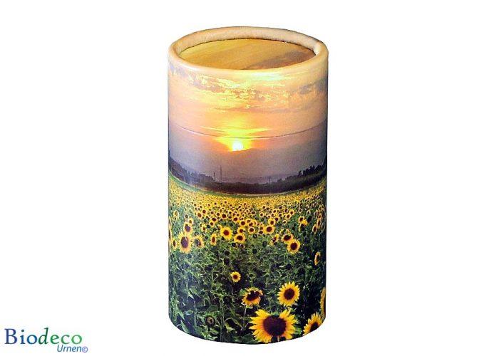 Mini strooikoker Zonnebloemenveld, voor het verstrooien van een kleine hoeveelheid crematie-as van