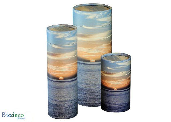 Strooikoker Zonsondergang, in drie verschillende maten. Voor het verstrooien van crematie-as