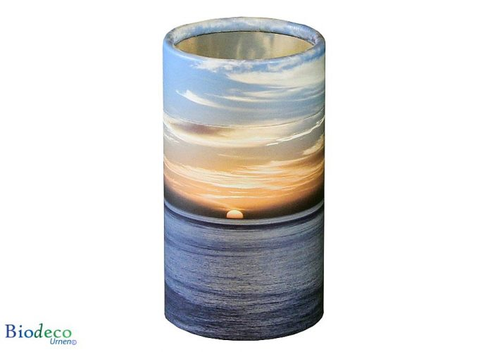 Mini strooikoker Zonsondergang, voor het verstrooien van een kleine hoeveelheid crematie-as van