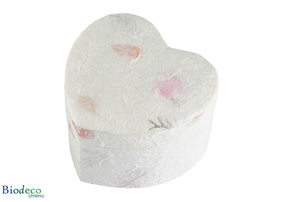 De biologische afbreekbare mini Hart-urn bloemenurn in hartvorm met ingelegde bloemblaadjes voor een asbijzetting in de aarde van een deel van de as