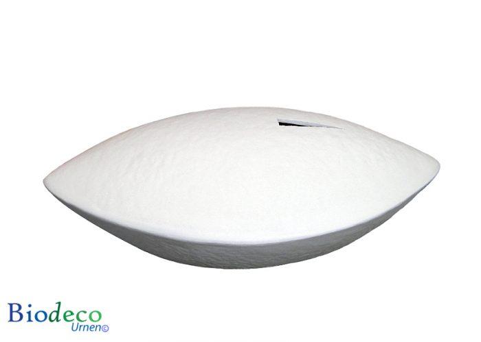 De biologisch afbreekbare zee-urn Memento wit, voor een asbijzetting in het water