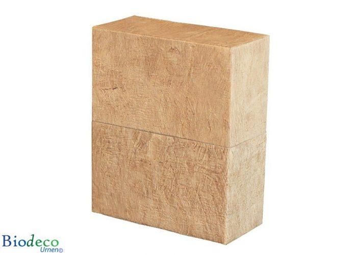 De biologisch afbreekbare urn Simplicity Houtstructuur, van schors van de moerbeiboom, voor een asbijzetting in de aarde