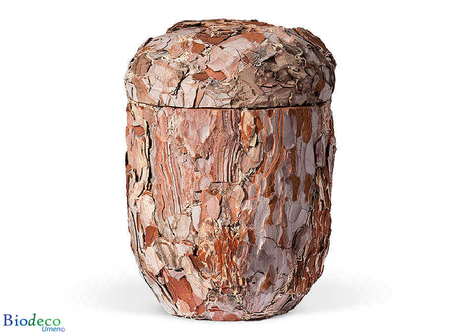 Biologisch afbreekbare Pijnboomschors-urn, handmatig afgewerkt met de schors van de pijnboom, voor een asbijzetting in de aarde