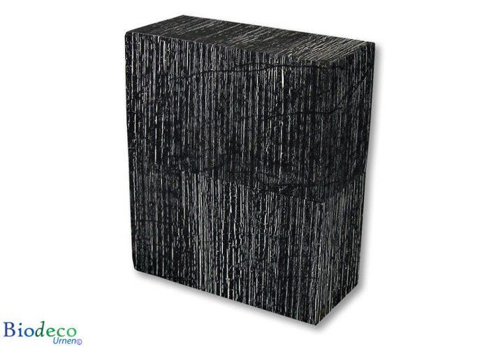 De biologisch afbreekbare urn Simplicity Antiek Zwart, bekleed met geweven papier, voor een asbijzetting in de aarde